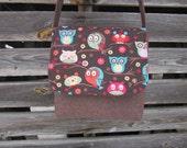 Owl crossbody bag, messenger bag, owl purse, cotton fabric