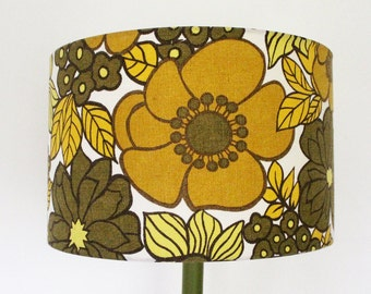 Vintage Retro Lampshade - 1970s Fabric -  Small Size - Handmade -Large Olive Flowers