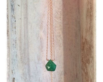 14K solid rose gold -Minimalistic- Raw Rough-Colombian Emerald drop-pendant necklace- Enzo Luccati