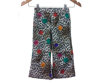 Leopard and Polka Dot Jacquard Vintage Fabric Toddler Bellbottom Pants size 2T