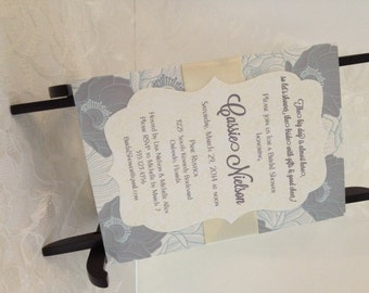 Bridal Shower Invite in Yellow and Gray Floral - Wedding Invite Bracket Scallop - Baby Shower Yellow Ribbon