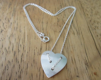 Sterling Silver Heart Pendant, Recycled Sterling Silver, Brushed Silver, Simple Silver Necklace, Valentine's, Ready to Ship Neckwear