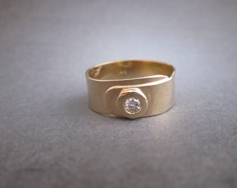 14kt Yellow gold and natural diamond ring one of a kind Made to order