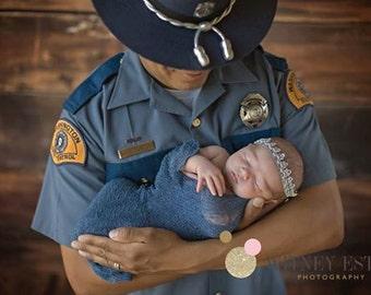 Baby Headband & Baby Knit Wrap Set, NEWborn Knit Wrap, Newborn Prop, Newborn Halo, Silver Baby Halo, Photo Prop, Baby Halo, Blue Knit Wrap