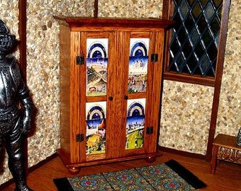 Medieval Cabinet, Très Riches Heures, Dollhouse Miniature 1/12 Scale, Hand Made