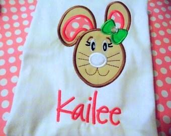 EXCLUSIVE Bunny Rabbit  Applique T Shirt for  Easter Children by Bubblebabys