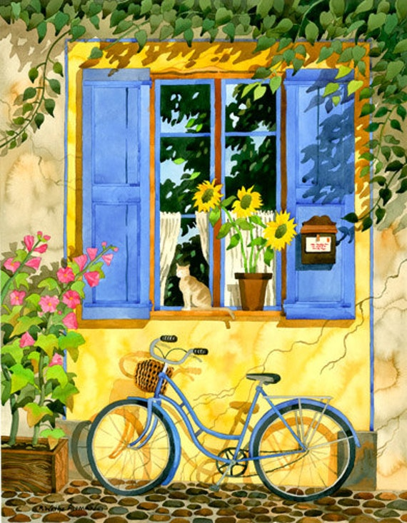 Provence France Bicycle In France Cat In By Robinwethealtman