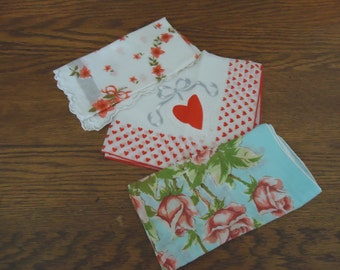 Vintage hankies, Hankies, Wedding hankies, Flower Girl hankies, Embroidered Hankies, Ladies hankies, Wedding Handkerchief, Lot 3 red hankies