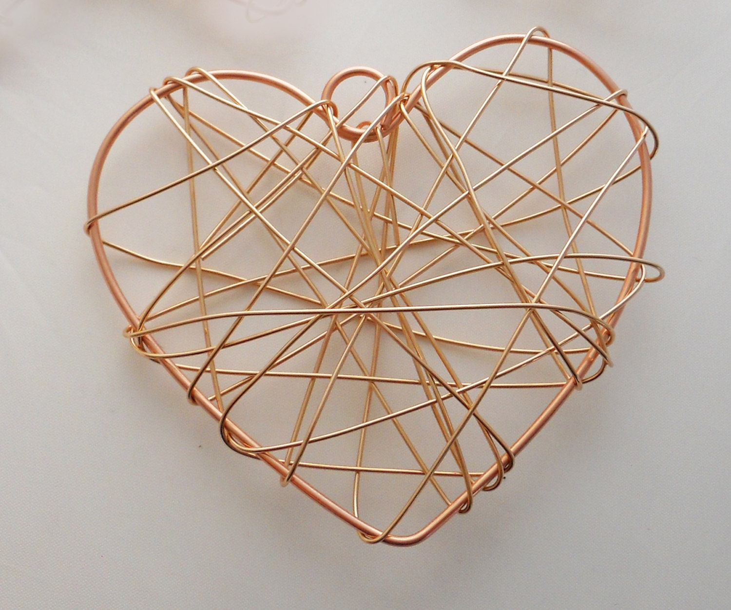 Large copper heart wire wrapped metal christmas tree ornament