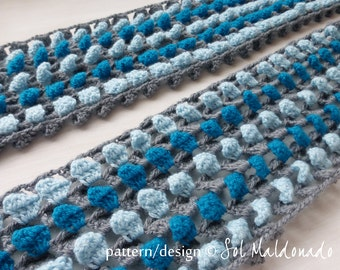 Scarf Pattern Crochet Confetti PDF- Classic Stripe 3D scarf - neck, cowl Unisex, man, woman - Instant Download