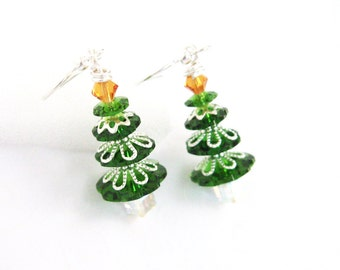 Green Christmas Tree Earrings, Crystal Christmas Jewelry, Holiday Earrings, Fern Green Tree Jewelry, Swarovski Elements Crystal Trees