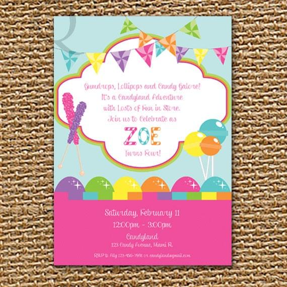 Candyland Birthday Birthday Party Girl Birthday Boy Birthday – Candyland Party Invites