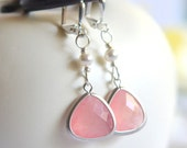 Coral Pink Teardrop and White Swarovski Pearl Dangle Earrings in Silver. Jewelry Gift for Her.  Bridesmaid Earrings.