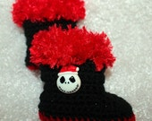 Nightmare Before Christmas Baby Boots - Jack Skellington Baby Boots - Crochet Shoes - Black Baby Boots with Red Fur