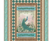 "Graceful Splendor Quilt Kit with Pattern -  by Little Louise Designs - Beautiful Panel Peacock Panel Quilt size 56"" x 76"""