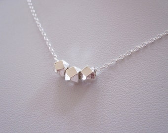 Hill tribe 97% sterling silver three faceted beads necklace, minimalistic beads necklace