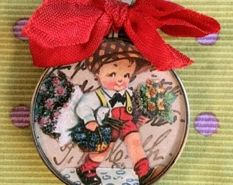 Vintage Handcrafted Pendant Boy Carrying Flowers