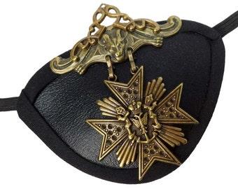 Eye Patch Gold Medallion Gothic Steampunk Pirate Buccaneer Fantasy Fashion Eyepatch