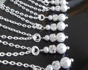 Set of 8 Pearl and Rhinestone NecklacesBridesmaid Necklaces Set of 8, Bridesmaids Jewelry 8 Necklaces Pearl Necklaces Bridesmaids Gifs