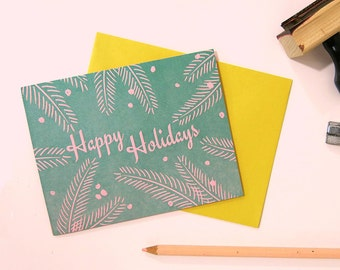 Tropical Happy Holidays! on Pink Paper / Letterpress Printed Card