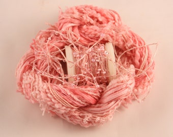 pastel rose pink Beaded Embroidery thread with seed beads sequins hand dyed ribbon weaving supply quilting embellishment bead yarn