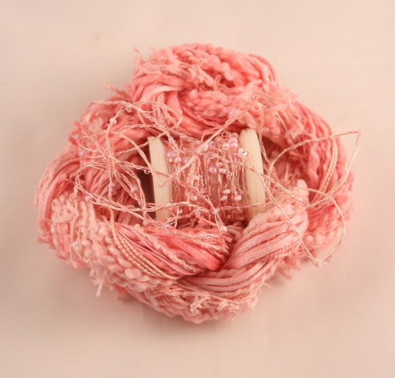 Pastel rose pink beaded embroidery thread with seed beads