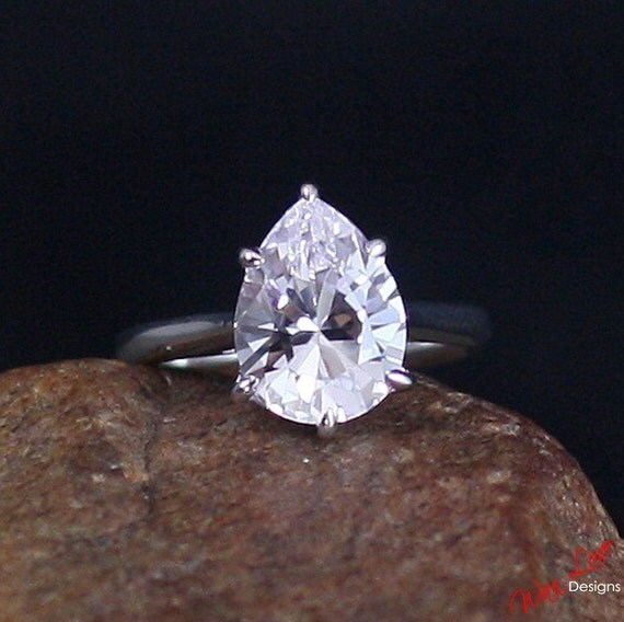 light pink sapphire solitaire pear engagement ring 4 5ct