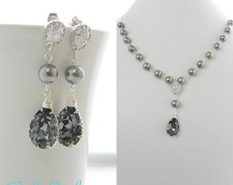 Pearl Bridal Jewelry Set, Gray Pearl and Crystal Bridal Jewelry, Pearl Earrings and Necklace Set, Mother Of the Bride Jewelry Bridesmaid Set