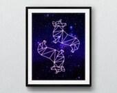Corgstellation: 8x10 geometric Corgi outer space constellation print