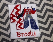 Transformer Optimus Prime Boys Birthday Shirt