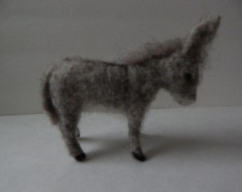 Grey Donkey   Burro    Nativity  wool needle felted