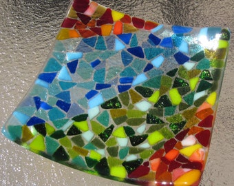Fused Glass Mosaic Plate, Sunset, Sea, and Leaves, Mosaic Glass Plate, Modern Glass Plate