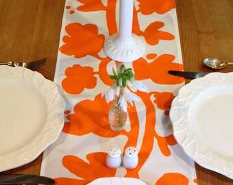 Modern Orange Linen Table Runner Weddings Parties Showers Thanksgiving Table