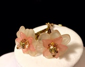 Pink and Gold Long Trumpet Flower Earrings