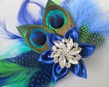 Royal Blue Wedding Bridal Corsage, Peacock Feather Corsage, Prom 2016 Corsage with Blue & Green Feathers, Bridesmaid Corsage