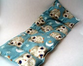 Heat Pad or Cold Pad Therapy Rice Bag - Light Blue Sleepy Owl - Moon and Stars