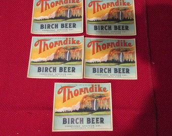 Set of 5 Antique Thorndike Springs Throndike, Ma Birch Beer Soda Bottle Labels Dead Stock Never Used Color Lithograph Paper