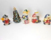 Vintage Christmas candles snowman candle teddy bear candle Christmas tree candle Santa candle vintage Christmas candle collection NOS