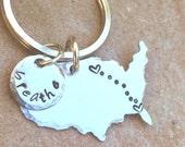 United States Keychain, Boyfriend Gift, Long Distance  Keychain, Couples Keychain, Personalized Keychain, Hand Stamped Keychain