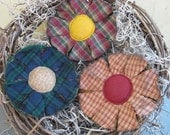 Homespun Primitive Flowers - Spring/Summer Decor Bowl Fillers - Set of 3 - Rustic Plaid Fabric Grungy  - Country Home Decor