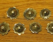 7 Silver Tone Metal Buttons in the Shape of a Flower, Tribal Belly Dance