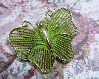 "Vintage ""Hand Strung"" Green Butterfly Brooch - BUT-14 - Lime Green Brooch - Gold Butterfly Brooch - Hand Sewn Green Butterfly Brooch"