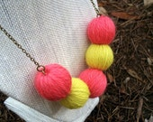 Statement Necklace - Coral Pink and Lemongrass // Coral and Neon Yellow