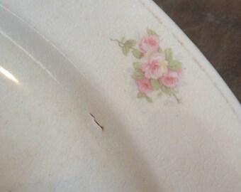 Antique Platter West End Pottery Co. 1893 -1938 Oval Pink Floral Rose - #2037