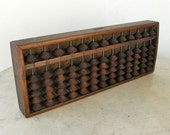 JAPANESE SOROBAN ABACUS Vintage Wooden Counter 13 Rows 1/5 Beads Faint Characters on Back Nice Patina Asian Made in Japan Folk Art