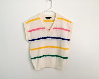 1980s rainbow striped colorblock HIPSTER dolman sweater vest