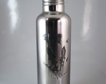 Dandelion 24 oz Etched Stainless Steel Water Bottle