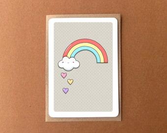Greeting card - Baby shower, thank you, I love you - cute rainbow, cloud & heart raindrops