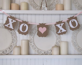 XO XO Valentines Banner,  Hugs and Kisses, Valentines Party, Valentines Day Decoration