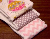 Burp Cloth Set, Pink and Gray, Hot Air Balloon or Cloud, Gray Polka Dot, Pink Chevron